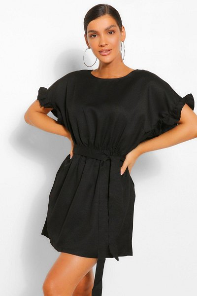 Boohoo Frill Sleeve Belted Shift Dress in black