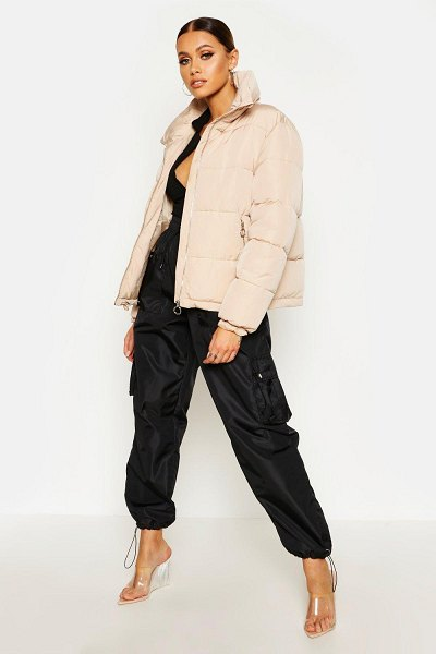 Boohoo Funnel Neck Puffer Jacket in stone