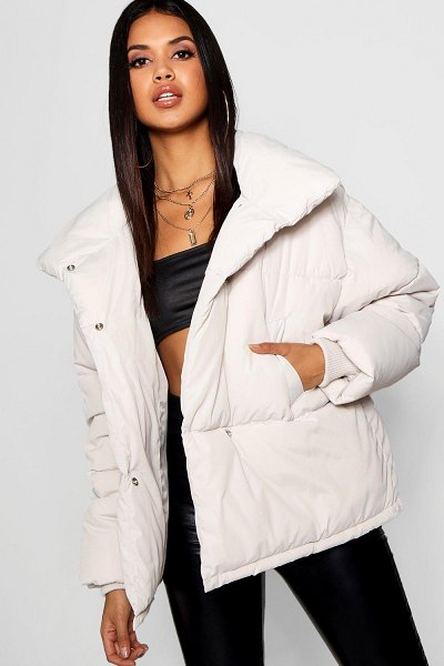 Boohoo Funnel Wrap Neck Puffer Jacket in dove