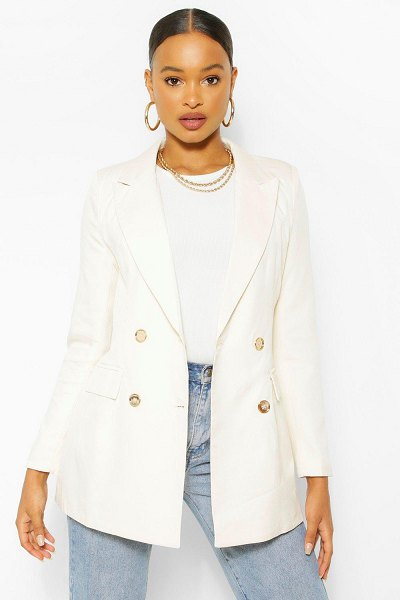 Boohoo Gold Button Fitted Blazer in off white