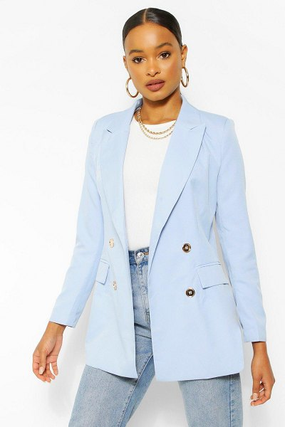 Boohoo Gold Button Fitted Blazer in pale blue
