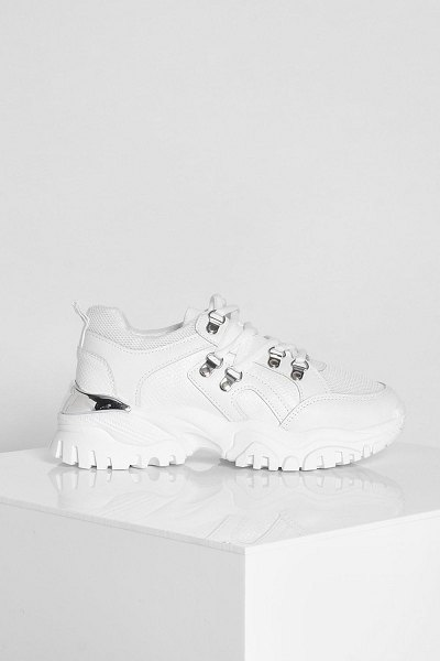 Boohoo Hardware Detail Chunky Trainer in white