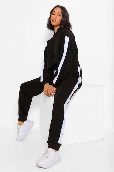 Boohoo Her Contrast Panelled Crop Hooded Tracksuit in black