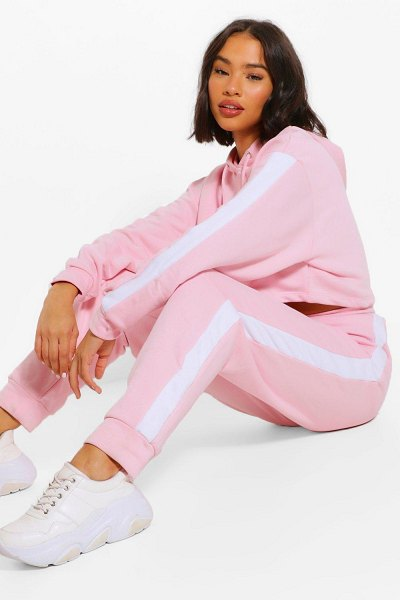 Boohoo Her Contrast Panelled Crop Hooded Tracksuit in dusky pink
