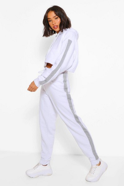 Boohoo Her Contrast Panelled Crop Hooded Tracksuit in white