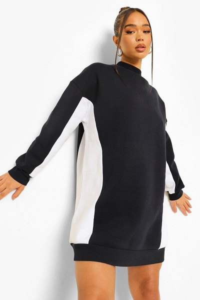 Boohoo High Neck Colour Block Sweat Dress in navy