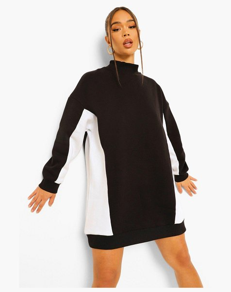 Boohoo High Neck Colour Block Sweat Dress in black