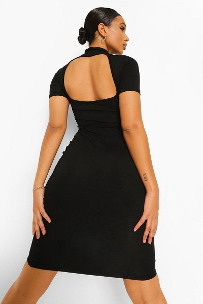 Boohoo High Neck Cut Out Back Midi Dress in black