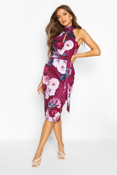 Boohoo High Neck Floral Cut Out Detail Midi Dress in plum