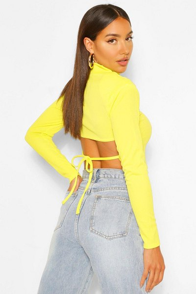 Boohoo High Neck Lace Up Back Long Sleeve Top in chartreuse