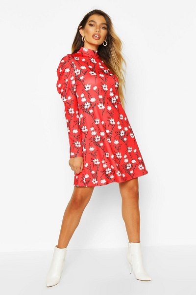 Boohoo Floral High Neck Puff Sleeve Swing Dress in red