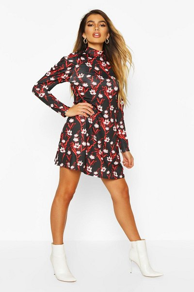 Boohoo Floral High Neck Puff Sleeve Swing Dress in black