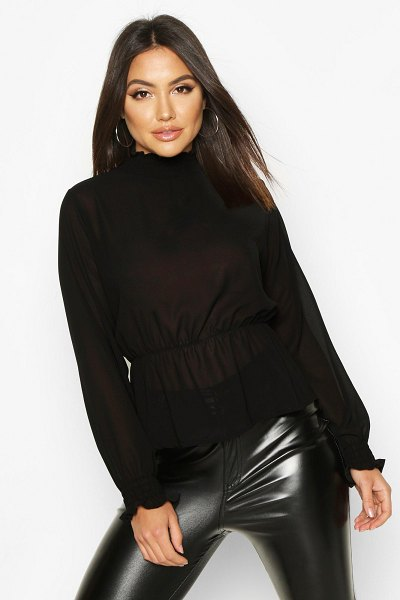 Boohoo High Neck Sheered Peplum Detail Blouse in black