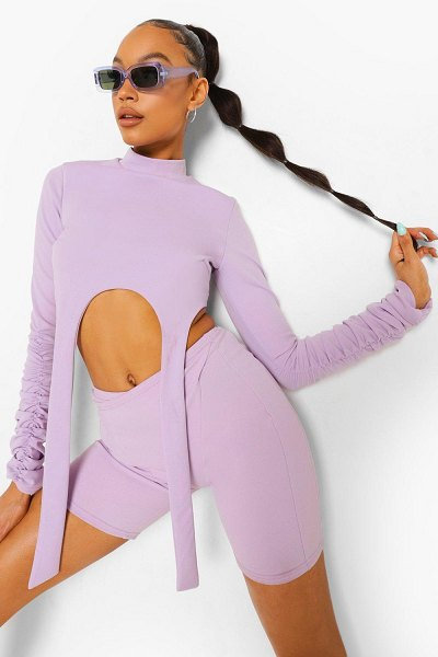 Boohoo High Neck Strap Detail Crop Top in lilac