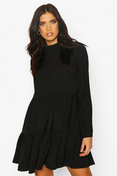 Boohoo High Neck Tiered Volume Sleeve Dress in black