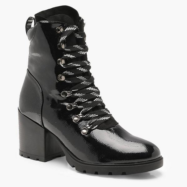 Boohoo High Patent Chunky Hiker Boots in black