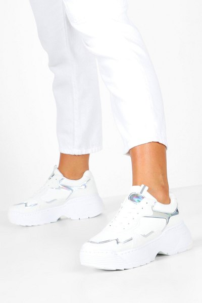 Boohoo Holographic Panel Chunky Sole Sneakers in white