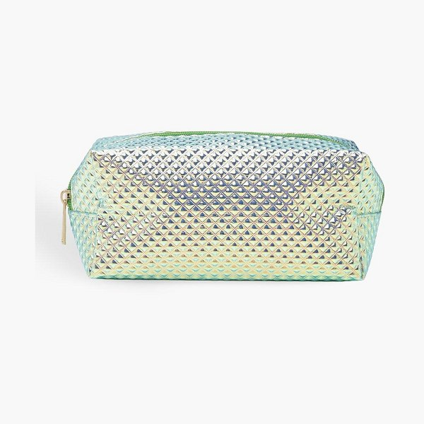 Boohoo Holographic Textured Make Up Bag in blue