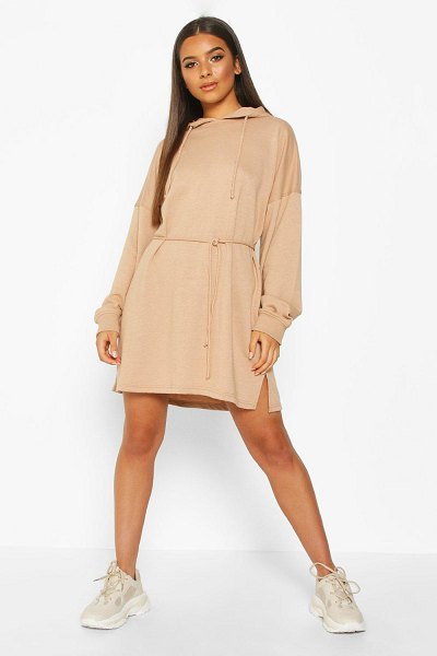 Boohoo Hooded Draw String Belted Sweatshirt Dress in biscuit
