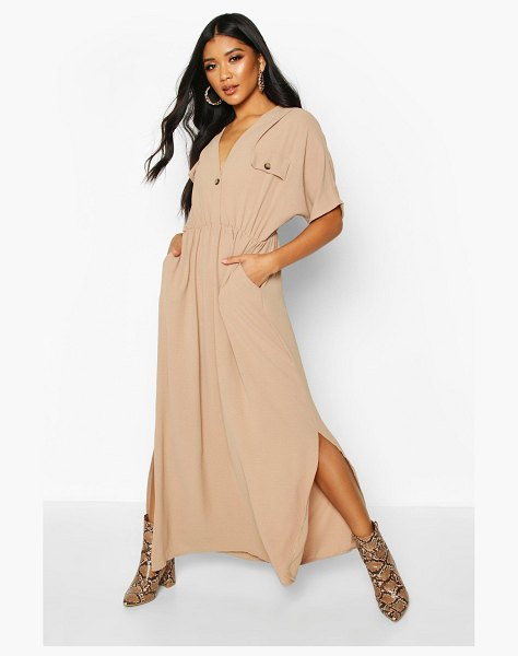 Boohoo Horn Button Utility Midi Dress in stone
