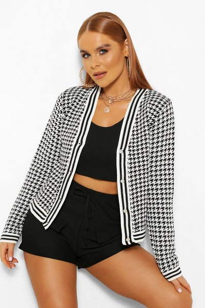 Boohoo Houndstooth Button Through Cardigan in black
