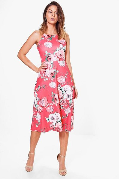 Boohoo Jennie Floral Strappy Midi Skater Dress in multi - Dresses are the  most-wanted 8ae79adce