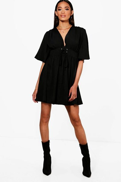5ecef7bd39 Boohoo Lace Up front Angel Sleeve Skater Dress - Dresses are the  most-wanted wardrobe