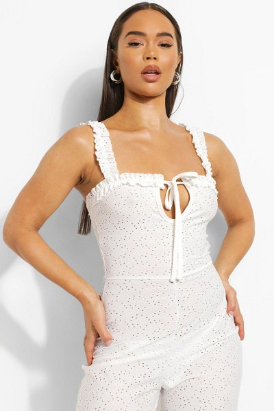 Boohoo Jersey Broderie Tie Bust Jumpsuit in white