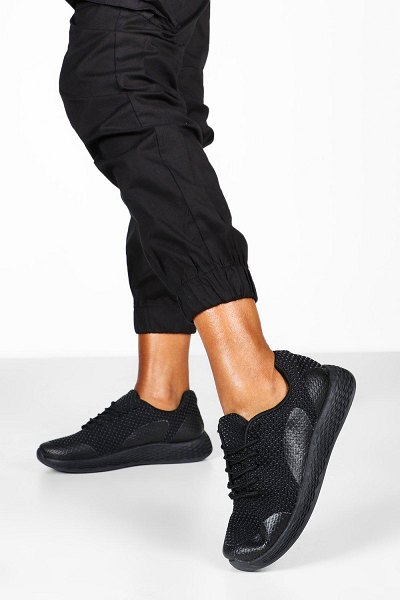 Boohoo Knitted Basic Sports Sneakers in black