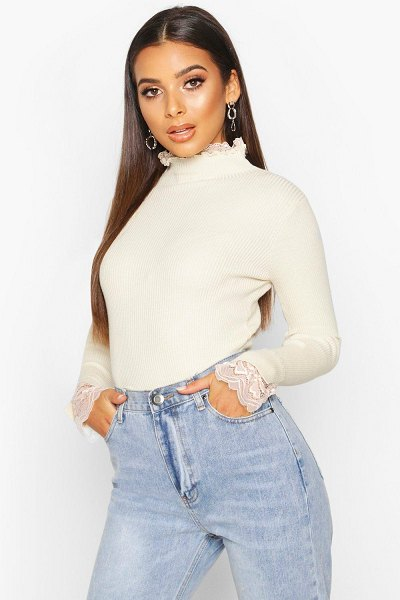 Boohoo Knitted Lace Ruffle Rib Turtle Neck Top in ecru