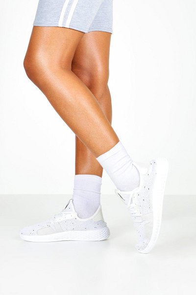 Boohoo Knitted Lace Up Sports Sneakers in white