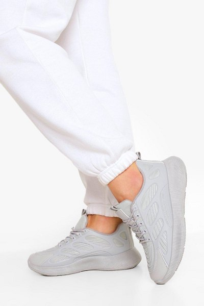 Boohoo Knitted Panel Chunky Sports Sneakers in grey