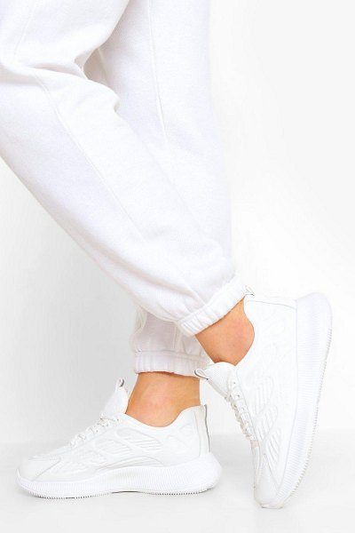 Boohoo Knitted Panel Chunky Sports Sneakers in white