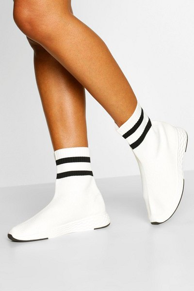 Boohoo Knitted Sock Sneakers in white