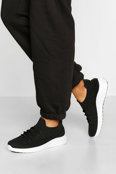 Boohoo Knitted Sports Sneakers in black