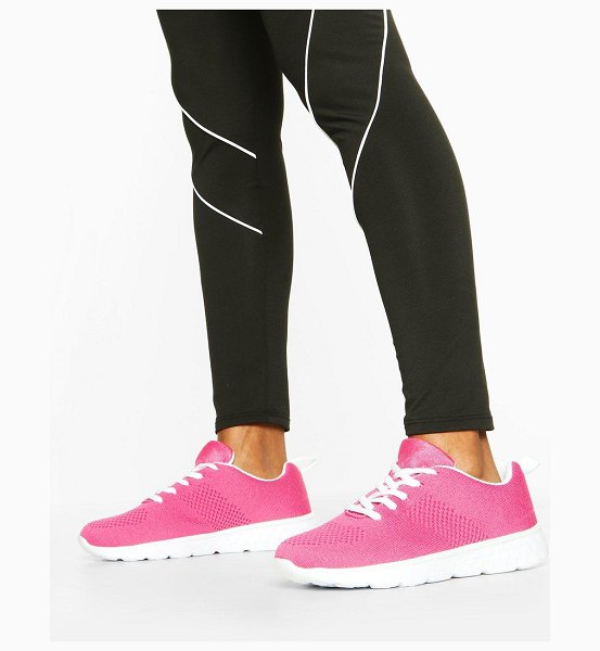 Boohoo Knitted Running Sneakers in pink