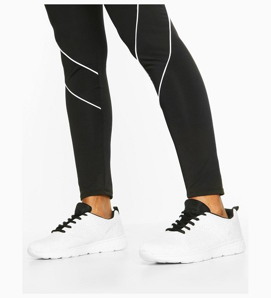 Boohoo Knitted Running Sneakers in white