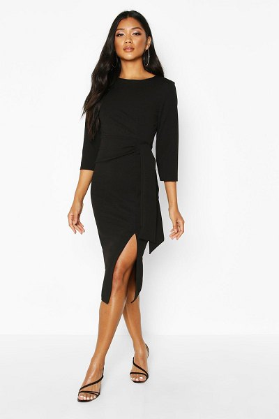 Boohoo Knot Detail Midi Dress in black