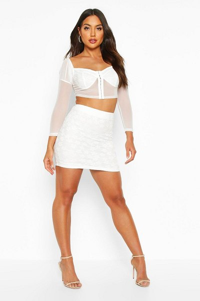 Boohoo Lace Detail Mini Skirt in ivory