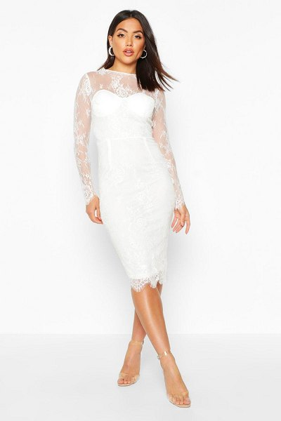 Boohoo Lace Sleeve Cupped Midi Dress in white