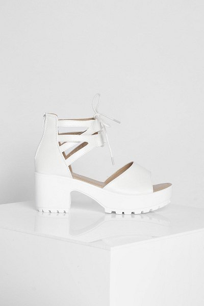 Boohoo Lace Up 2 Part Cleated Sandals in white