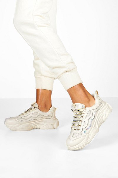 Boohoo Lace Up Contrast Chunky Sneakers in stone