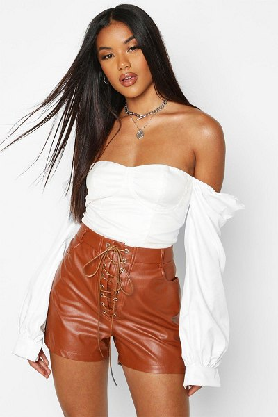 Boohoo Lace Up Front Leather Look Shorts in tan