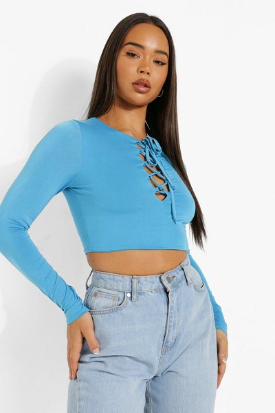 Boohoo Lace Up Long Sleeve Top in blue