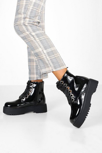 Boohoo Lace Up Patent Chunky Hiker Boots in black