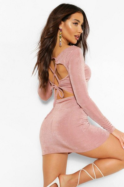 Boohoo Lace Up Textured Slinky Bodycon Dress in taupe