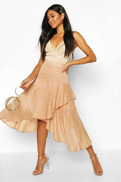 Boohoo Layered Metallic Polka Dot Midi Skirt in nude