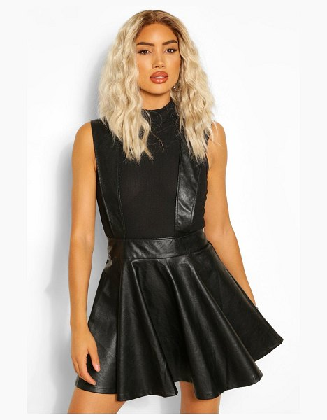 Boohoo Leather Look Pinafore Skater Skirt in black