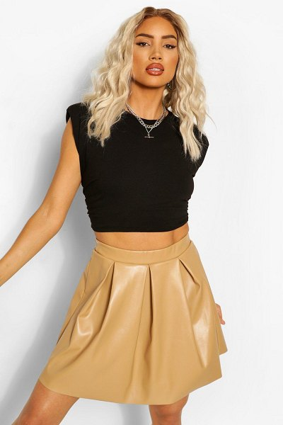 Boohoo Leather Look Pleated Skirt in camel