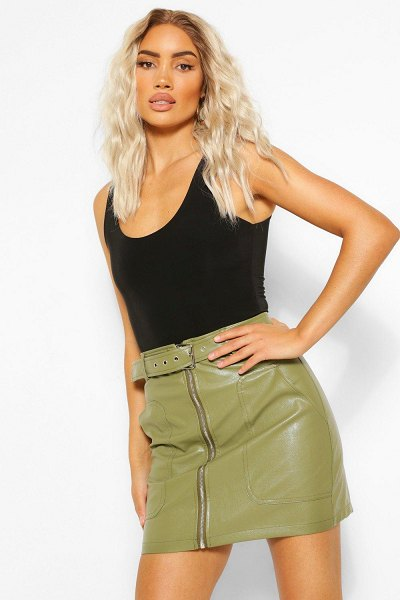 Boohoo Leather Look Pocket Detail Belted Skirt in khaki